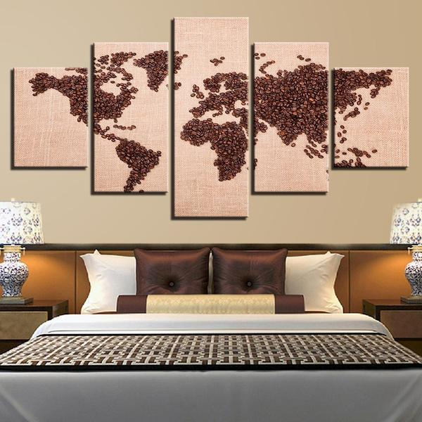 Coffee Beans World Map Canvas Wall Art