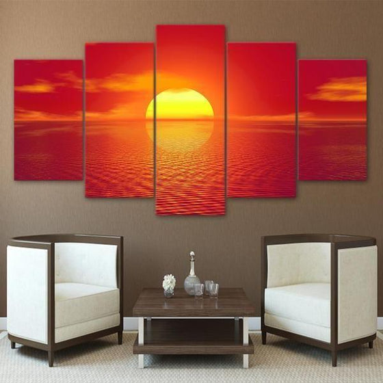 Beach Red Sunset Canvas Wall Art Decor