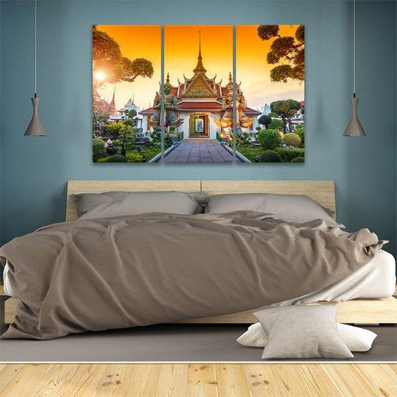 Wat Arun Buddhist Temple 3-Panel Canvas Wall Art Bedroom
