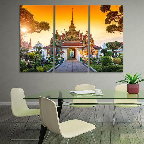 Wat Arun Buddhist Temple 3-Panel Canvas Wall Art Decor