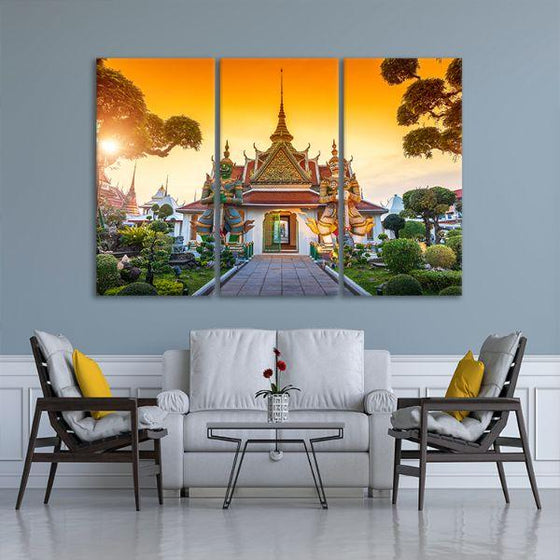 Wat Arun Buddhist Temple 3-Panel Canvas Wall Art Living Room