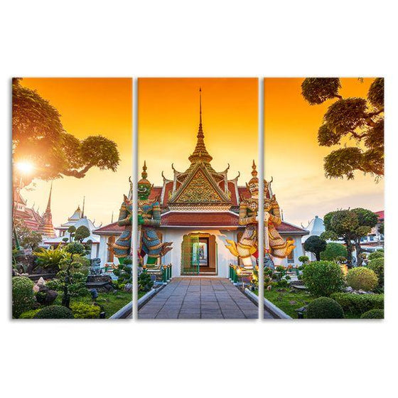 Wat Arun Buddhist Temple 3-Panel Canvas Wall Art