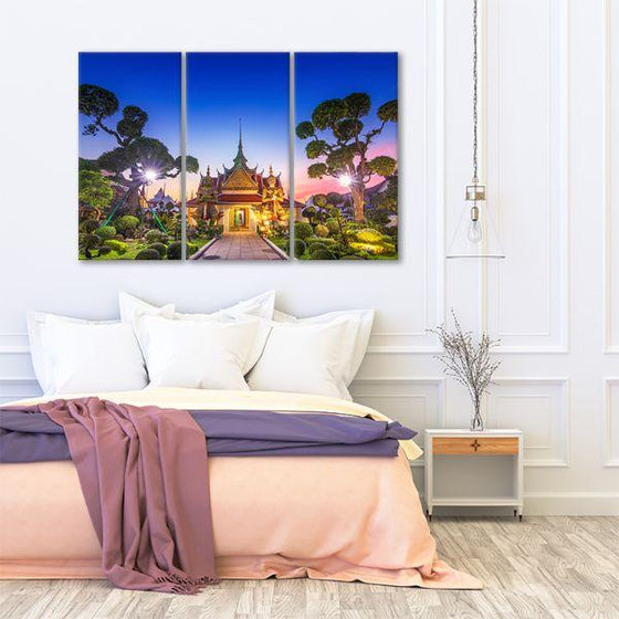 Wat Arun Temple At Sunset 3-Panel Canvas Art Bedroom