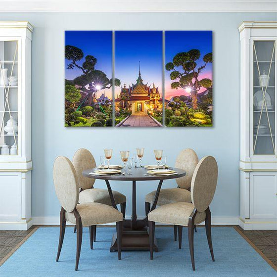 Wat Arun Temple At Sunset 3-Panel Canvas Art Dining Room