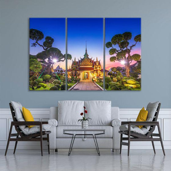 Wat Arun Temple At Sunset 3-Panel Canvas Art Living Room