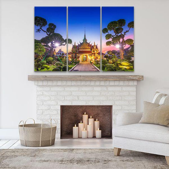 Wat Arun Temple At Sunset 3-Panel Canvas Art Set