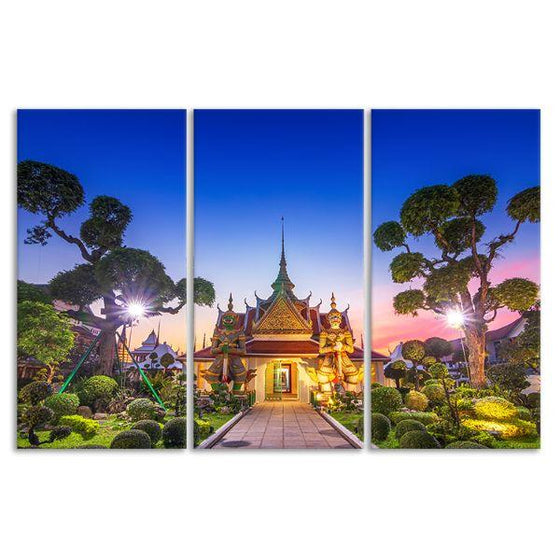 Wat Arun Temple At Sunset 3-Panel Canvas Wall Art