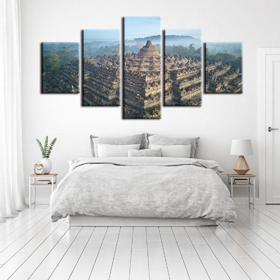 Wat Suthat In Bangkok 5 Panels Canvas Wall Art Decor