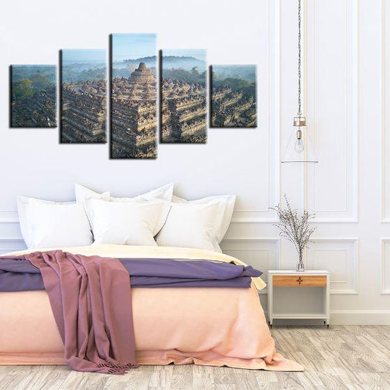Wat Suthat In Bangkok 5 Panels Canvas Wall Art Print
