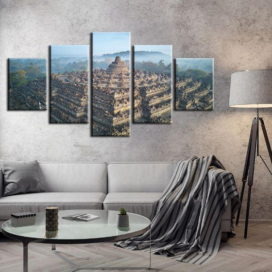 Wat Suthat In Bangkok 5 Panels Canvas Wall Art Set