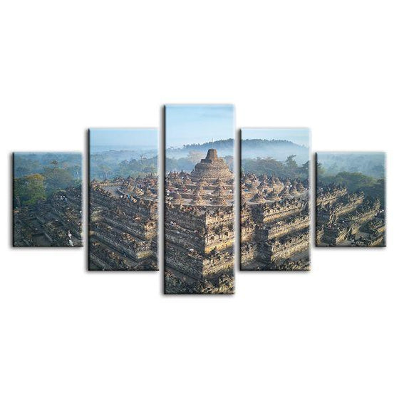 Wat Suthat In Bangkok 5 Panels Canvas Wall Art