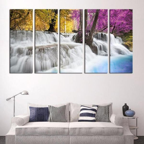 Colored Trees & Waterfalls Canvas Wall Art Living Room