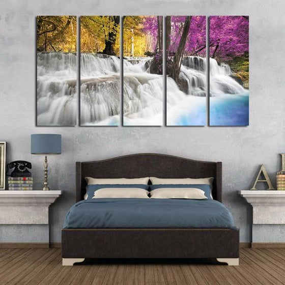 Colored Trees & Waterfalls Canvas Wall Art Bedroom