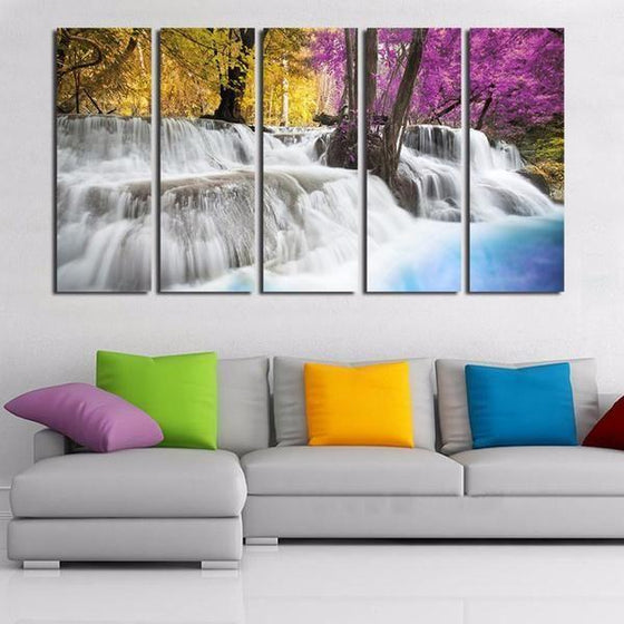 Colored Trees & Waterfalls Canvas Wall Art Home Decor