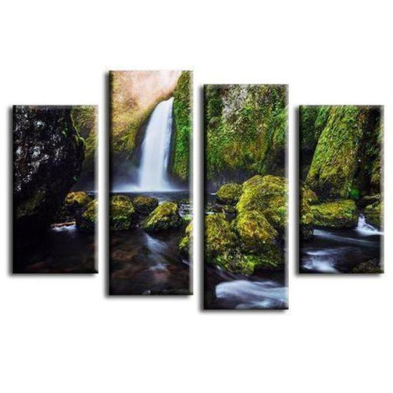 Waterfall Streaming Down Canvas Wall Art