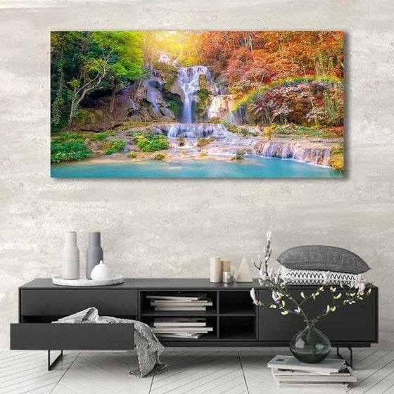 Waterfalls And A Rainbow Wall Art Canvas