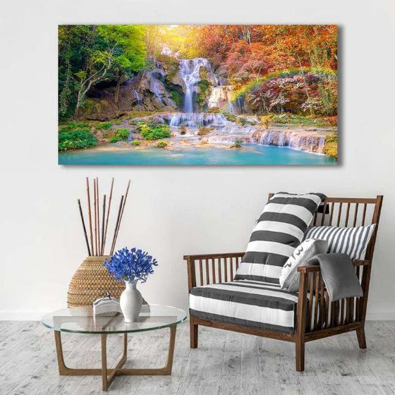 Waterfalls And A Rainbow Wall Art Decor
