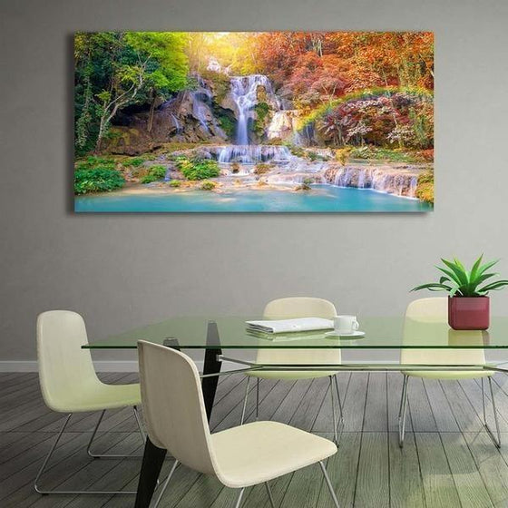 Waterfalls And A Rainbow Wall Art Dining Room