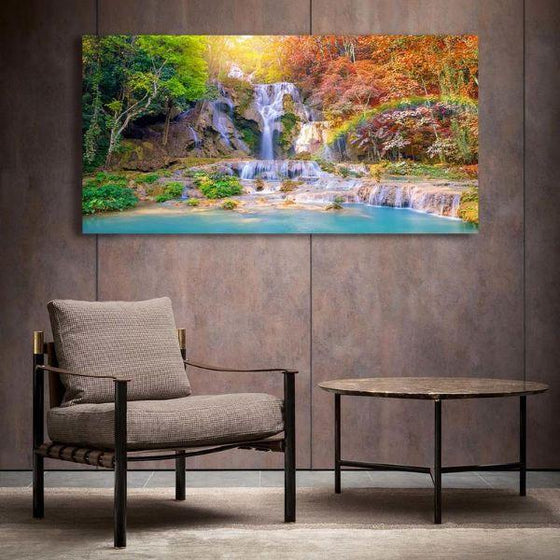 Waterfalls And A Rainbow Wall Art Living Room