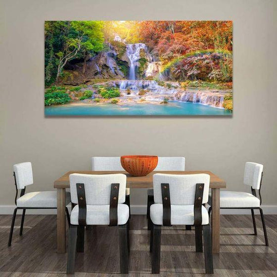 Waterfalls And A Rainbow Wall Art Print