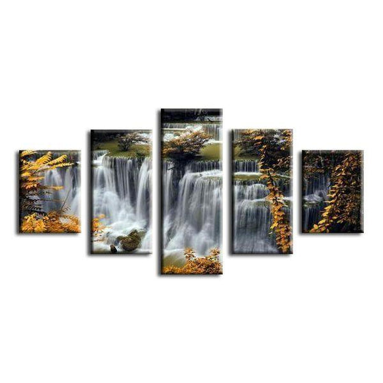 Waterfalls In The Forest Canvas Wall Art