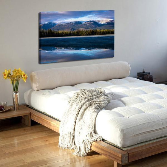Waves With Mountain Ranges Wall Art Bedroom