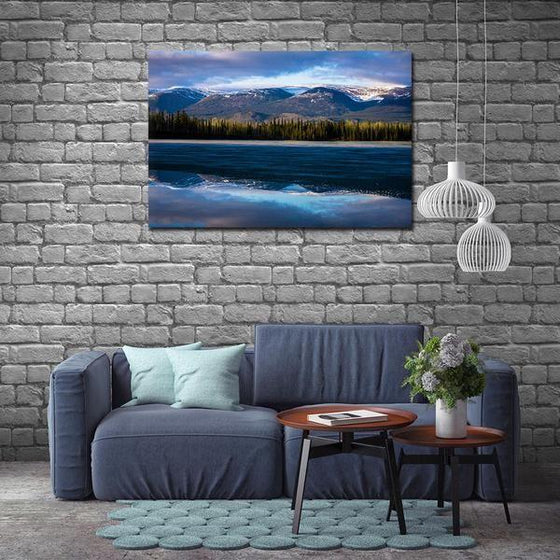 Waves With Mountain Ranges Wall Art Canvas