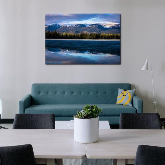Waves With Mountain Ranges Wall Art Living Room