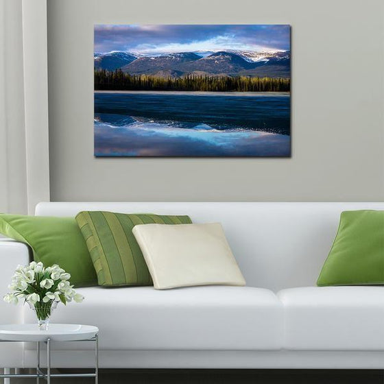 Waves With Mountain Ranges Wall Art Print