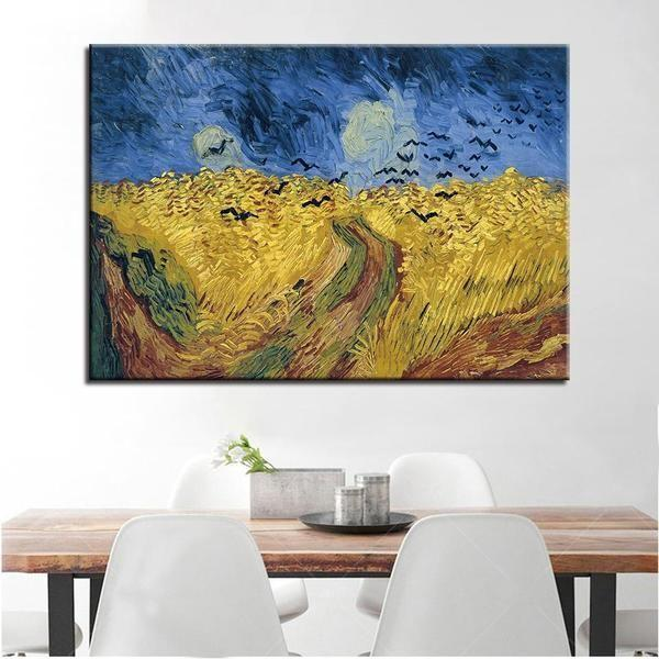 Wheatfield with Crows 1890 by Vincent van Gogh Canvas Print Wall Art