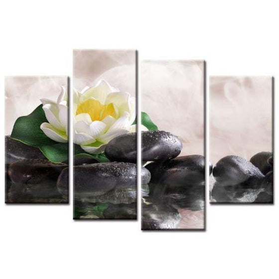 White Lotus With Zen Stones Wall Art
