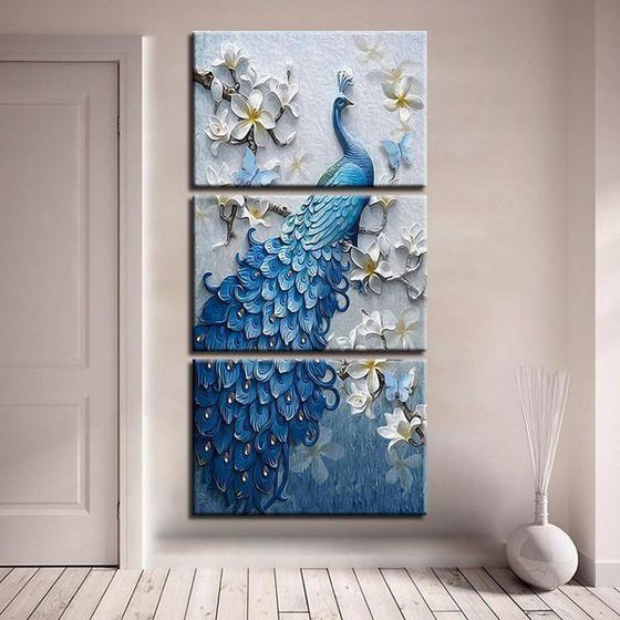 White Orchid Blue Peacock Canvas Wall Art Decor