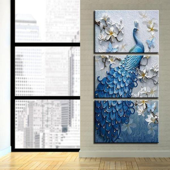 White Orchid Blue Peacock Canvas Wall Art Living Room
