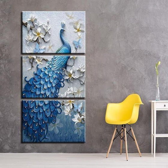 White Orchid Blue Peacock Canvas Wall Art Print