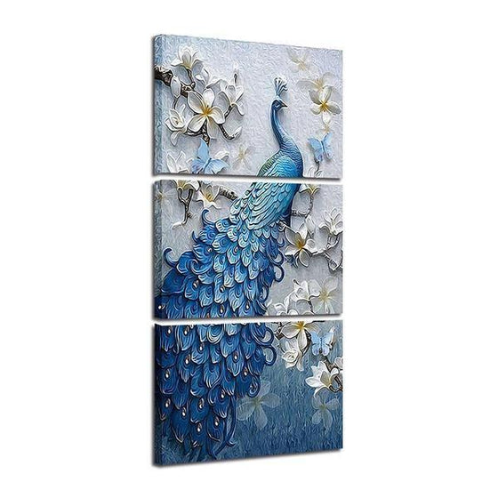 White Orchid Blue Peacock Canvas Wall Art Set