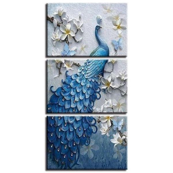 White Orchid Blue Peacock Canvas Wall Art