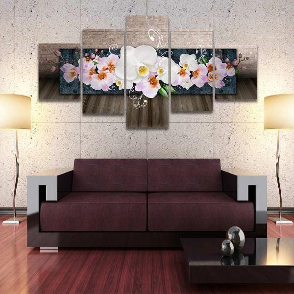 White Orchids 5 Panels Canvas Wall Art Living Room
