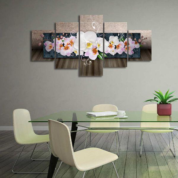 White Orchids 5 Panels Canvas Wall Art Office