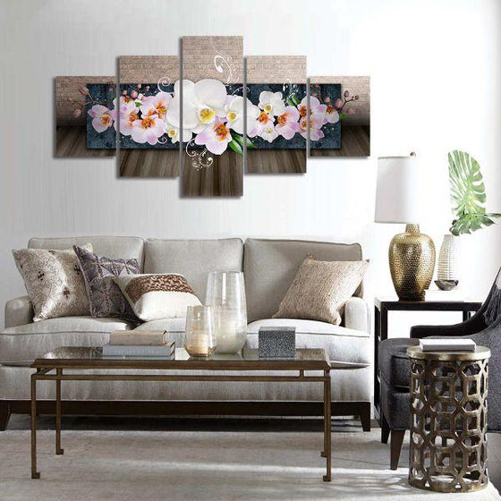 White Orchids 5 Panels Canvas Wall Art Prints