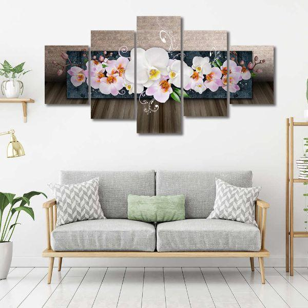 White Orchids 5 Panels Canvas Wall Art Set