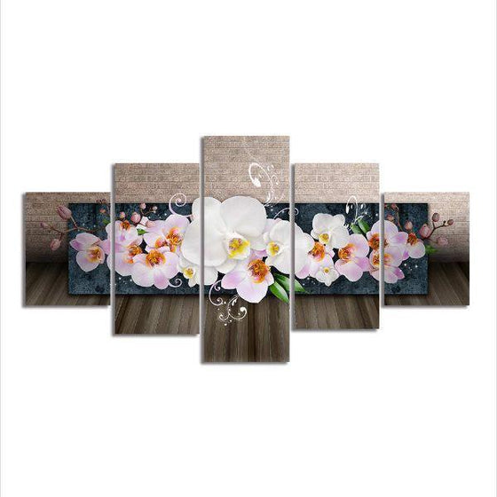 White Orchids 5 Panels Canvas Wall Art
