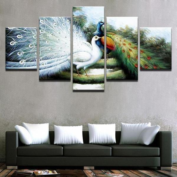 White Peacock Wall Art Canvas