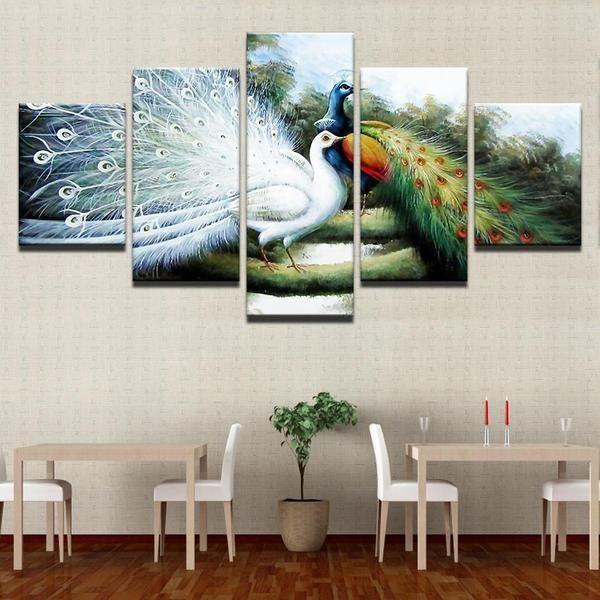 White Peacock Wall Art Decor