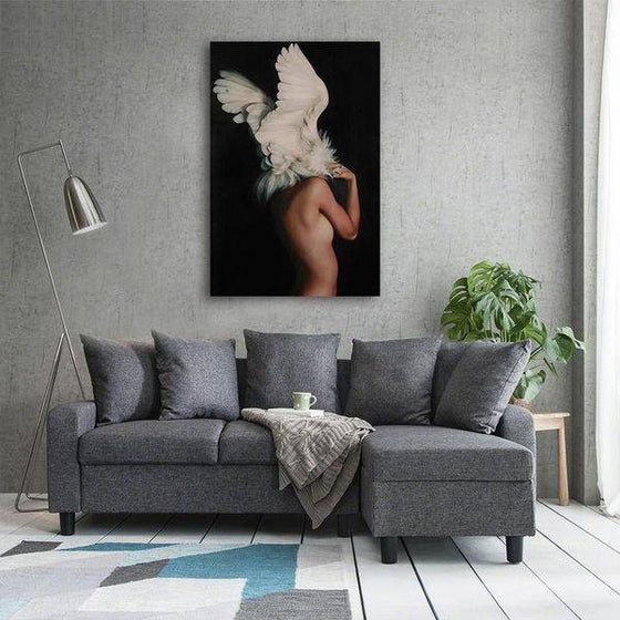 White Swan Wings Wall Art Canvas