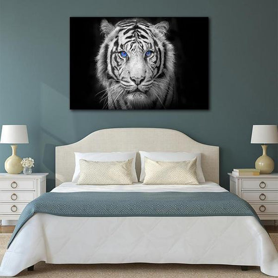 White Tiger With Blue Eyes Canvas Wall Art Bedroom