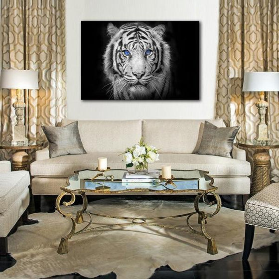White Tiger With Blue Eyes Canvas Wall Art Decor
