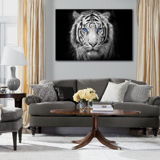 White Tiger With Blue Eyes Canvas Wall Art Living Room