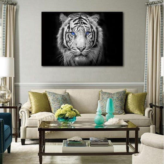 White Tiger With Blue Eyes Canvas Wall Art Print