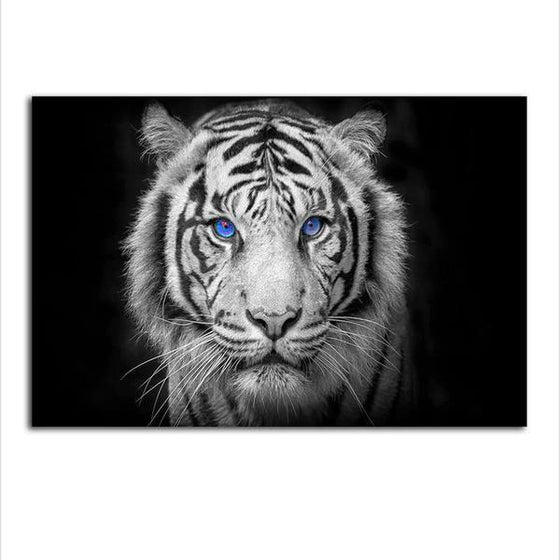 White Tiger With Blue Eyes Canvas Wall Art