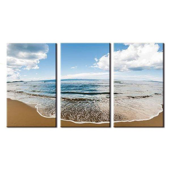Wide Beach And Blue Sky Canvas Wall Art